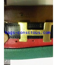 Hermes small two reversible belts with gold buckle
