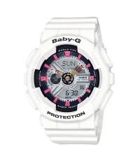 Casio Baby-G นาฬิกาข้อมือผู้หญิง สีขาว สายเรซิ่น รุ่น BA-110SN-7ADR