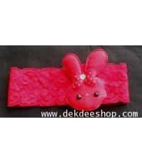 ที่คาดผมน่ารักสดใส ผ้าลูกไม้สีแดง กระต่ายชมพแดง (1 ชิ้น)