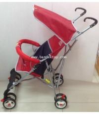 รถเข็นเด็กก้านร่ม 8 ล้อ น้ำหนักเบา Happy Baby สีแดง 5177
