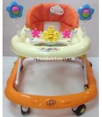 รถหัดเดินปรับระดับได้ มีดนตรีผีเสื้อ สีส้ม
