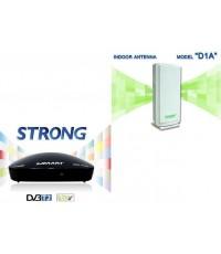 ชุดรับสัญญาณเสาดิจิตอลทีวี SAMART รุ่น STRONG + เสา D1A