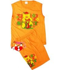 ชุดเสื้อกล้าม...สีส้มหมีน้อยดาวน้อย SPORT น่ารักน่าใช้สุดสุด Size 2 , 4