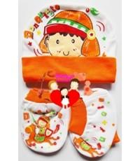 ชุดกิ๊บเซต...หมวก ถุงมือ ถุงเท้า...เด็กแรกเกิด...สีขาวส้มอัศวินน้อย...น่ารักน่าใช้สุดสุด