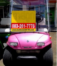รถกอล์ฟไฟฟ้าโซล่าเซลล์ SOLAR EVO สีชมพูม่วง รถกอล์ฟไฟฟ้าพลังแสงอาทิตย์