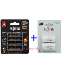 Fujitsu FDK ชุดประหยัด size C Combo Set ถ่านชาร์จ AA 2550 mah แถมฟรี Adapter แปลงถ่านเป็น size C