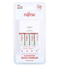 Fujitsu Quick Charger 2HR เครื่องชาร์จเร็ว 2 ชม. พร้อมสุดยอดถ่านชาร์จ AA 4 ก้อน