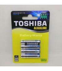 ถ่านอัลคาไลน์ AAA แพ็ค 4 ก้อน Toshiba Alkaline Blueline LR03BP4