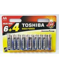 ถ่านอัลคาไลน์ AA แพ็ค 10 ก้อน Toshiba Alkaline High Power LR06GCP BP10