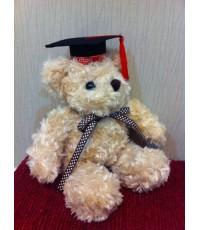 ตุ๊กตาหมีนั่งอ้วนตัวเล็ก ใส่หมวกรับปริญญา เลือกสีพู่ได้ ยืนสูง 11 นิ้ว