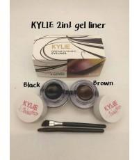 Kylie eyelinereyebrow อายไลเนอร์เนื้อเจล2 สี แพคคู่ 2 กระปุก มาพร้อมแปรง