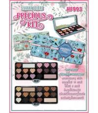 SIVANNA colors precious kit hf993 พิมพ์ลายหัวใจทาตา 14 ไฮไลท์ 2 สี พาเลทกล่องเหล็กสีฟ้าสดใส