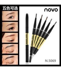 NOVO 2in1 Eyebrow pencil And eyeliner คิ้วแท่งพร้อมแปรงปัดคิ้วเรียงสวย