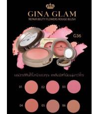 ปัดแก้ม Gina glam repair bauty Flowers rouge blush G36 บรัชออนเนื้อเนียนตลับเดี่ยวมีแปรงปัดในตลับ