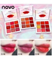 พาเลทลิปสติก novo kiss kiss rose lip palette 9 colors ลิปเนื้อเนียนชุ่มฉ่ำสวยสด