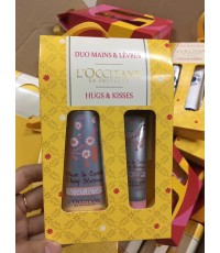 L\'occitane en provence cherry blossom Hugs Kisses Hand Cream and Lip Balm Gift set งานจริงตามภาพถ่า