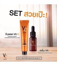 Ratcha Vit C Serum 10ml.+กันแดด vit c uv เซรั่มวิตามินซีเข้มข้น 25ml.   ของแท้