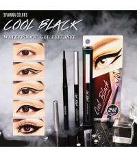 SIVANNA COOL BLACK WATERPROOF GEL EYELINER HF912  ดินสอเขียนขอบตาเนื้อไม่มุขแท่งหมุนสะดวกใช้งาน