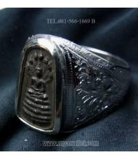 แหวนเงินสั่งทำ หัวแหวนหรียญพระนาคปรก เนื้อสัมฤทธิ์ อ.ชุม ไชยคีรี ปี 2499 (ขายแล้ว)