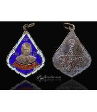 เหรียญหลวงพ่อทองดี วัดท่าเกวียน นนทบุรี พ.ศ. 2487 รุ่นแรก เนื้อเงินลงยา