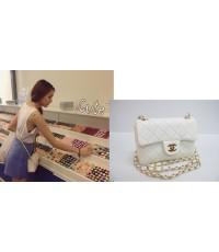 กระเป๋า ชาแนล มินิ 7 นิ้ว  :: Chanel mini flap bag Lambskin Top mirror สีขาว