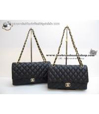 กระเป๋าชาแนล Chanel Classic flap bag Caviar  ท้อปมิเล่อร์ สีดำ อะไหล่ทอง