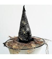 หมวกแม่มดลายแมงมุม สีดำทอง