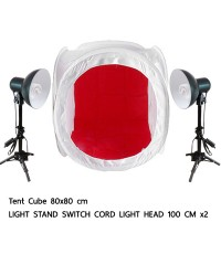 Tent Cube 80cm. Light Stand 100cm with Lamp Holders