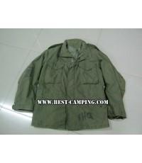 JACKET FIELDS M65 OLIVE GREEN,แจ็คเก็ตทหาร,แจ็คเก็ตกันหนาว,กันลม .แจ็คเก็ตฟิลด์ M65 ซิบเงิน, (มือ 2)