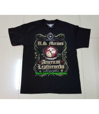 เสื้อยืด  T-Shirt ,Battle Space ลาย U.S. MARINES AMERICAN LEATHERNEBS