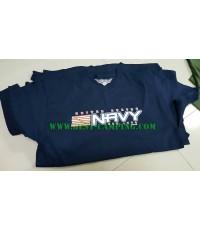 เสื้อยืด  T-Shirt ,Battle Space ลาย U.S. NAVY