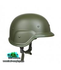 หมวกแค็บบร้าสีเขียว Green Army Helmet ABS Plastic