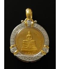 M595-2327 เหรียญทองคำ 99.9หลวงพ่อโสธร รุ่นย้อนยุค พร้อมกรอบฝังเพชร