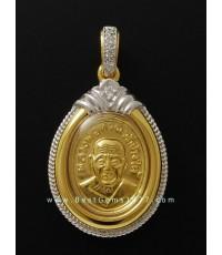 M481-1932เหรียญเม็ดแตงทองคำหลวงพ่อทวด รุ่น 101ปี อาจารย์ทิม พร้อมกรอบ