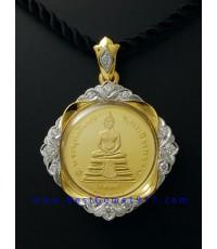 M622-1416 เหรียญทอง2หน้าหลวงพ่อโสธรนานาชาติรุ่นแรก 2537 swiss made พร้อมกรอบ