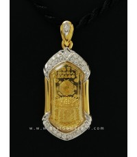 M692-2498 เหรียญกันชงทองคำ วัดจุฬามณี พร้อมกรอบทองฝังเพชร