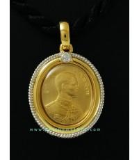 M695-1680 เหรียญทองคำ99.9ปัญจภาคี พิมพ์เล็ก(พระมงคลบพิตร พระบาทสมเด็จพระเจ้าอยู่หัวฯ)พร้อมกรอบ