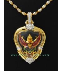 M715-2585 ครุฑทองคำลงยา รุ่นราชาทรัพย์ หลวงพ่อวราห์ วัดโพธิ์ทอง