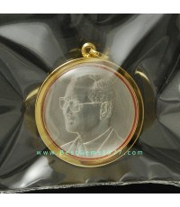 PB0134BTP เหรียญเงิน ร.9เฉลิมพระชนมพรรษา 80พรรษา 5ธค.2550 เลี่ยมกรอบทอง