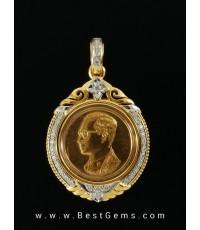 0180908 R งานรับสั่งทำกรอบสำหรับบรรจุเหรียญคุ้มเกล้าทองคำ(เล็ก) ฝังเพชร