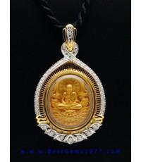 0210202B-2301_BD งานกรอบกันน้ำสั่งทำสำหรับบรรจุเหรียญหลวงพ่อทวดอภิเมตตาเนื้อทอง(พิมพ์จิ๋ว) ล้อมเพชรแ