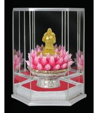 พระบูชา พระสังกัจจายน์ ชุบทอง 24K + กรอบหกเหลี่ยมพร้อมฐานดอกบัวเซรามิก