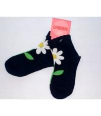 ถุงเท้าสีดำลายดอกไม้สีขาว ไซส์ 3