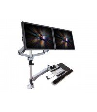 Dual-screen spring lcd arm, with a keyboard arm