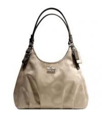 พร้อมส่ง กระเป๋า COACH 16505 Madison Dotted Op Art Maggie Shoulder Bag -KHAKI / Mahogani