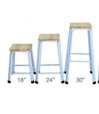 เก้าอี้โครงเหล็กขาคู่ หน้าไม้ยางพารา