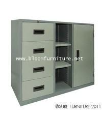 ตู้ลิ้นชักเหล็กสำหรับเก็บเอกสารแยกประเภท ตู้ 1 บานเปิด 2 ชั้นปรับระดับ (3ช่อง) 4ลิ้นชักใหญ่