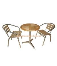 ชุดโต๊ะกาแฟ MAKI โต๊ะกาแฟอลูมิเนียม+ไม้ยางพารา สวยค่ะ
