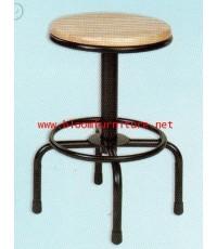 เก้าอี้โครงเหล็กหน้าไม้ยางพารา (รุ่นเตี้ย) สามารถปรับสูง-ต่ำได้