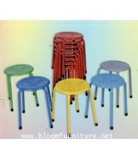 เก้าอี้เหล็กกลมแฟนซีหน้าเหล็ก (มีเจาะรู)